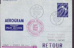 Norway Airmail Aerogramme SAS OSLO-THULE-TOKIO Special Flight Cover 1953 RETOUR !! - Briefe U. Dokumente