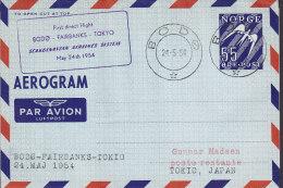 Norway Airmail Aerogramme SAS BODØ-FAIRBANKS-TOKIO 1. Flight Cover 1954 !! - Briefe U. Dokumente