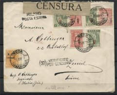 GREECE, COVER WITH ONLY OVERPRINTED STAMPS, CENSORED 1917 TO SWITZERLAND - Greece