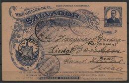 EL SALVADOR, EXCELLENT STATIONERY POSTCARD 1898 TO SWITZERLAND - Salvador
