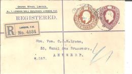 GBE026/  Privat Ganzsache Crown Mines Nach Belgien - 1902-1951 (Könige)