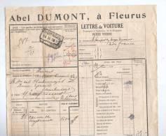 Lettre De Voiture Cachet De Gare FLEURUS 1931 Vers AISEAU - Entete Abel Dumont  --  B8/416 - Railway