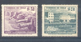 CHILI CHILE AÑO 1953  YVERT NRS. 235-236  MNH TBE  CUARTO CENTENARIO DE LA FUNDACION DE VALDIVIA FILIBGRANE A - Chili