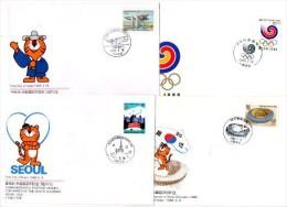 SPORT / COREE / Jeux Olympiques D'été à SEOUL 1988 : Série De 32 Enveloppes Commémoratives PREMIER JOUR Différentes.