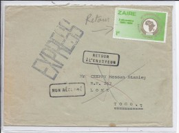 N°1113 S/l.-GFF Expres-v.Lome(Togo)-GFF Non Réclamé Et Retour à L'envoyeur. - Zaïre