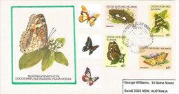 ILES COCOS (Océan Indien) ,Papillons (3 Ième Série) Yv.97/100. Belle Enveloppe FDC Adressée En Australie. - Schmetterlinge