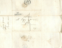 LETTRES Lettre 1827 Cursive  De Figeac   à Foix   2 Scans - Storia Postale