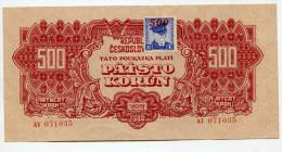 Tchécoslovaquie Czechoslovakia 500 Korun 1944 XF+++ / AUNC With STAMP  SPECIMEN - Tchécoslovaquie