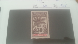 LOT 226516 TIMBRE DE COLONIE COTE IVOIRE NEUF* N�30 VALEUR 15 EUROS
