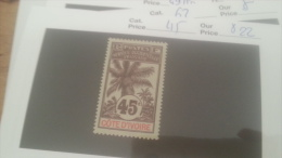 LOT 226521 TIMBRE DE COLONIE COTE IVOIRE NEUF* N�45 VALEUR 22 EUROS