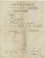 LA ROCHELLE SAUF CONDUIT CHEMIN DE FER ANNEE 1917 CACHET ST JEAN LUZ A HENDAYE VALABLE POUR UN ALLER RETOUR - Old Paper