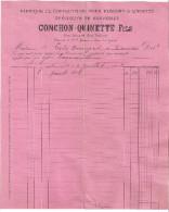 FACTURE ET  TRAITE -FABRIQUE DE CONFECTIONS POUR HOMMES ET ENFANTS -CONCHON-QUINETTE FILS  CLERMONT-FERRAND 1898 - France