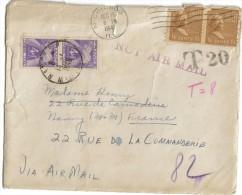 Paire 4 Francs Timbre Taxe Lettre USA Pour Nancy T20 T8 Not Air Mail - Impuestos