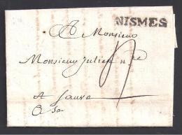GARD - Marque  NISMES Sur Lettre De 1790 - Postmark Collection (Covers)