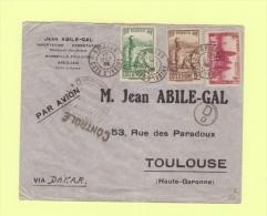 Abidjan - Cote D'Ivoire - 13 Oct 1939 - Destination Toulouse - Controle Postal Commission D - Côte-d'Ivoire (1892-1944)