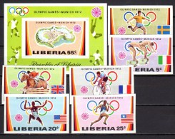 Liberia 1972 Michel 826-831B, Block 60B Olympic Games Munich, Football Soccer, Cycling Etc. Set Of 6 + S/s Imperf. MNH - Sommer 1972: München