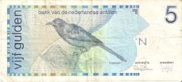 BILLETE DE NEDERLANDSE ANTILLEN DE 5 GULDEN  DEL AÑO 1986  (BANKNOTE) BIRD-PAJARO - Antillas Neerlandesas (...-1986)