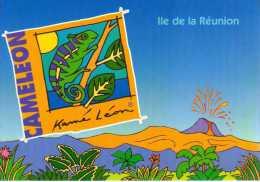 974 - ILE DE LA REUNION -   Ile Bourbon -  Le VOLCAN PITON DE LA FOURNAISE - Caméleon Ou L´endormi - Saint Denis