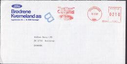 "Norway BRØDRENE KVERNELAND ""Ford Auto Car"" STAVANGER Slogan Meter Stamp Cpver 1987 To BALLERUP Denmark - Briefe U. Dokumente"