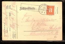 FELDPOSTKARTE Met Nr. 108 Met ZELDZAME Afstempeling K.D.FELDPOSTAMT III RESERVEKORPS Dd. 18/3/1915  ! - Invasión