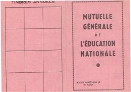 CARTE ADHERENT MUTUELLE GENERALE DE L EDUCATION NATIONALE - Organisations