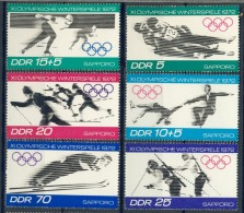 BL1-364 DDR, EAST GERMANY 1971 MI 1725-1730 SPORT, WINTER OLYMPICS SAPORRO. MNH, POSTFRIS, NEUF**. - Winter 1972: Sapporo