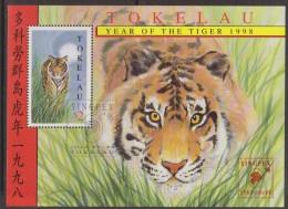 Tokelau 1998 Chinese New Year Tiger Miniature Sheet Singpex Overprint FU