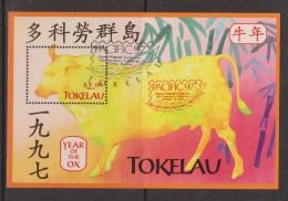 Tokelau 1997 Chinese New Year Ox Pacifica Overprint Miniature Sheet FU
