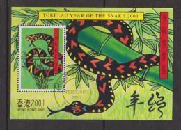 Tokelau 2001 Chinese New Year Snake Hong Kong Overprint Miniature Sheet FU