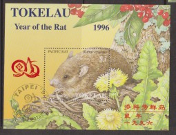 Tokelau 1996 Chinese New Year Sheep Rat Tapei Overprint Miniature Sheet FU