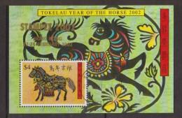 Tokelau 2002 Chinese New Year Horse Stampex Overprint Miniature Sheet FU