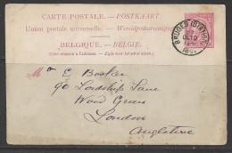 1891 Postal Card Bruges (Station) Oct 10 - Belgium