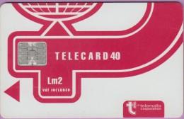 Malte  21  :-.   Telecard  Corporation 40  Lm2  Rouge  °  Sc7 C551   **   T B E - Malte
