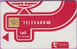 Malte  21.A  :-.   Telecard  Corporation 40  Lm2  Rouge  °  So3  Gros Laser   **   T B E - Malte