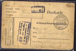1918  Carte De Prisonnier De Guerre Français  Kriegsgefangenensendung  Friedrischsfeld Bei Wesel - Allemagne