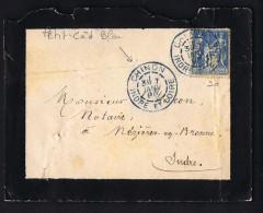 1896  Lettre De Deuil De Chinon  Cachet à Date  BLEU - Postmark Collection (Covers)