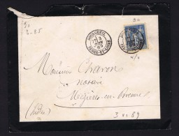 1889 Lettre De Deuil   De Bourgueil Pour Mézière-en-Brenne - 1877-1920: Semi Modern Period