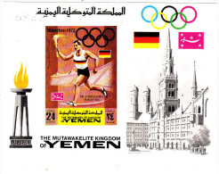 Yemen Kingdom Olympic Munich 1969,souvenir Shedet MNH Superb, IMPERFORATED -= Scarce-SKRILL PAY ONLY - Yemen