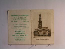 Calendrier Petit Format - 1960 - Pharmacie St Dominique - S. Lacour - Paris 7 ème - Arras - Hotel De Ville - Calendriers