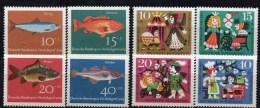 WF/Jugendserie 1964 BRD 412/5+447/0 ** 3€ Fisch Hering Rot-Barsch Karpfen Kabeljau Märchen Dornröschen Fauna Set Germany - Kind & Jugend