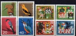 WF/Jugendserie 1963 BRD 401/4+408/1 ** 5€ Vögel Wiedehopf Pirol Gimpel Eisvogel Märchen Wolf 7Geißlein Fauna Set Germany - Kind & Jugend