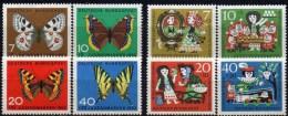 WF/Jugendserie 1962 BRD 376/9+385/8 ** 5€ Schmetterlinge Falter Fuchs Märchen Schneewittchen 7 Zwerge Fauna Set Germany - Kind & Jugend