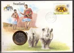 Numisbrief , Swasiland , 20 Cents , 1986 ( G.Schön 41 ) , Briefmarke Swasiland , 1987 , Mi.-Nr. 515 , Rückseite UNO New - Swasiland