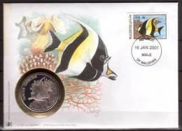 Numisbrief , Malediven , WWF , Halfterfisch , Briefmarke , 1986 , Mi.-Nr. 1198 - Malediven