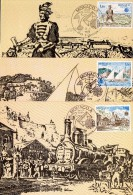 Monaco 1186/88 Carte Maximum Europa , Facteur , Voilier , Train , Locomotive - 1977
