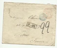 Lettre De Saint Petersbourg Pour Paris En 1865, Marque P.33. Taxe 22, Entrée Par La Prusse - Briefe U. Dokumente