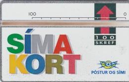 """Iceland, ICE-D-05, 100 SKREF, 1992 """"Simakort"""", CN : 208A, Mint,  2 Scans."""