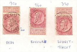 Nr. 58 (3x) Met DEPOTS - RELAIS - Afstempelingen Van REDU , ROCOUR En SOHEIT-TINLOT ! Inzet 25 € ! - 1893-1900 Fine Barbe
