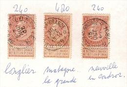 Nr. 57 (3x) Met DEPOTS - RELAIS - Afstempelingen Van LONGLIER , MATAGNE LA GRANDE En NEUVILLE EN CONDROZ! Inzet 15 € ! - 1893-1900 Fine Barbe
