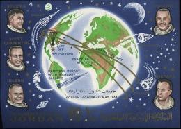 1963 Cosmos  Bloc 9 **  Cote 40 Euros  Astronautes Surchargés  With Overprint Gordon - Cooper 15 May 1963 - Jordanie
